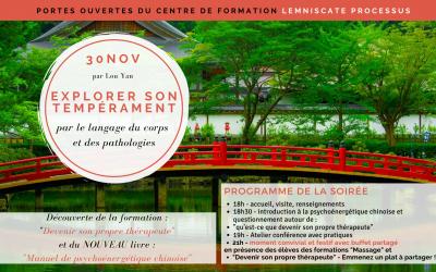 30 NOV – Portes ouvertes du centre de formation : une soirée sur le thème «Explorer son tempérament» par Lou Yan