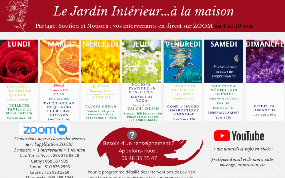 SEANCES EN DIRECT & tutoriels VIDEOS – programme de la semaine du 4 au 10 mai
