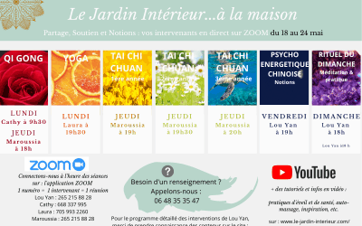 SEANCES EN DIRECT & tutoriels VIDEOS – programme de la semaine du 18 au 24 mai