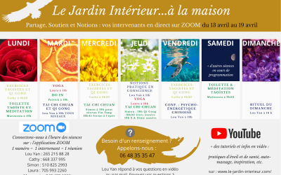 SEANCES EN DIRECT & tutoriels VIDEOS – programme de la semaine du 13 avril au 19 avril