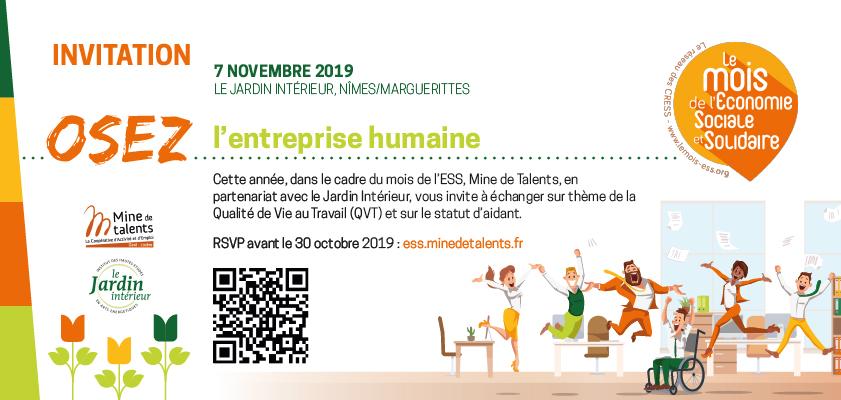 Lors du mois de l'ESS à Nîmes, participez à la journée «OSEZ l'entreprise humaine!» avec Mine de Talents